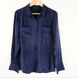 J Crew   Collection Luxe Silk Crepe Blouse Blue 8